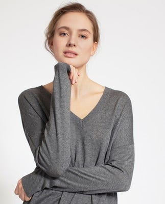 Ana Cotton Bamboo Sweater, Heather Gray