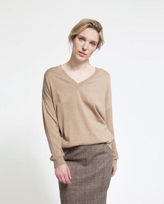 Ana Cotton Bamboo Sweater, Camel
