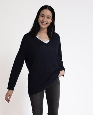 Ana Cotton Bamboo Sweater, Deepest Blue