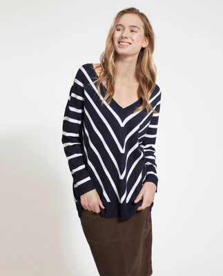 Cele V-neck Sweater, Blue/White