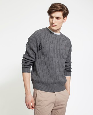 Andrew Cotton Cable Sweater, Dark Gray