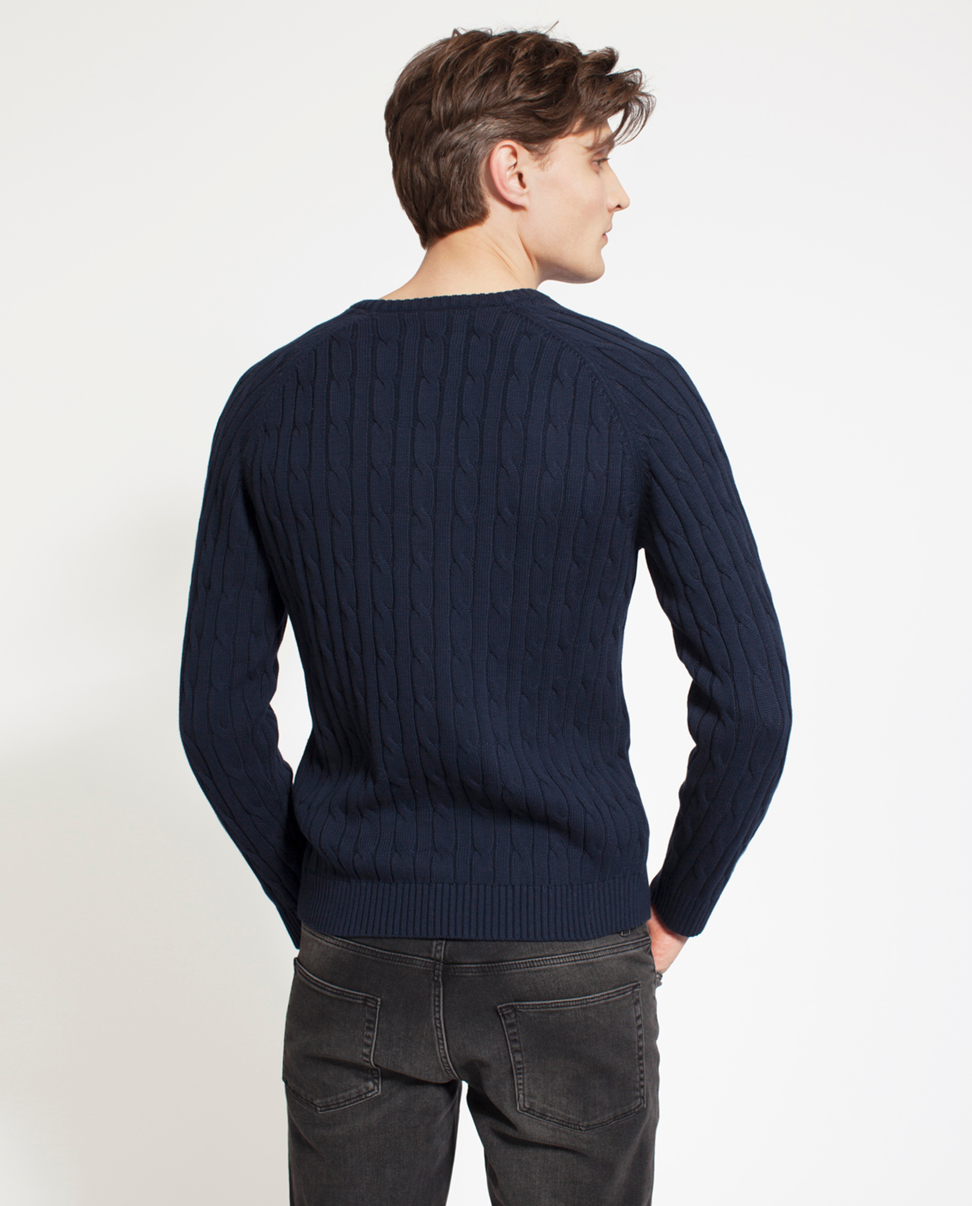 Andrew Cotton Cable Sweater, Deepest Blue