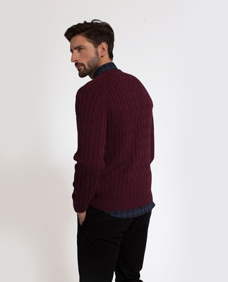 Andrew Cotton Cable Sweater, Burgundy Wine