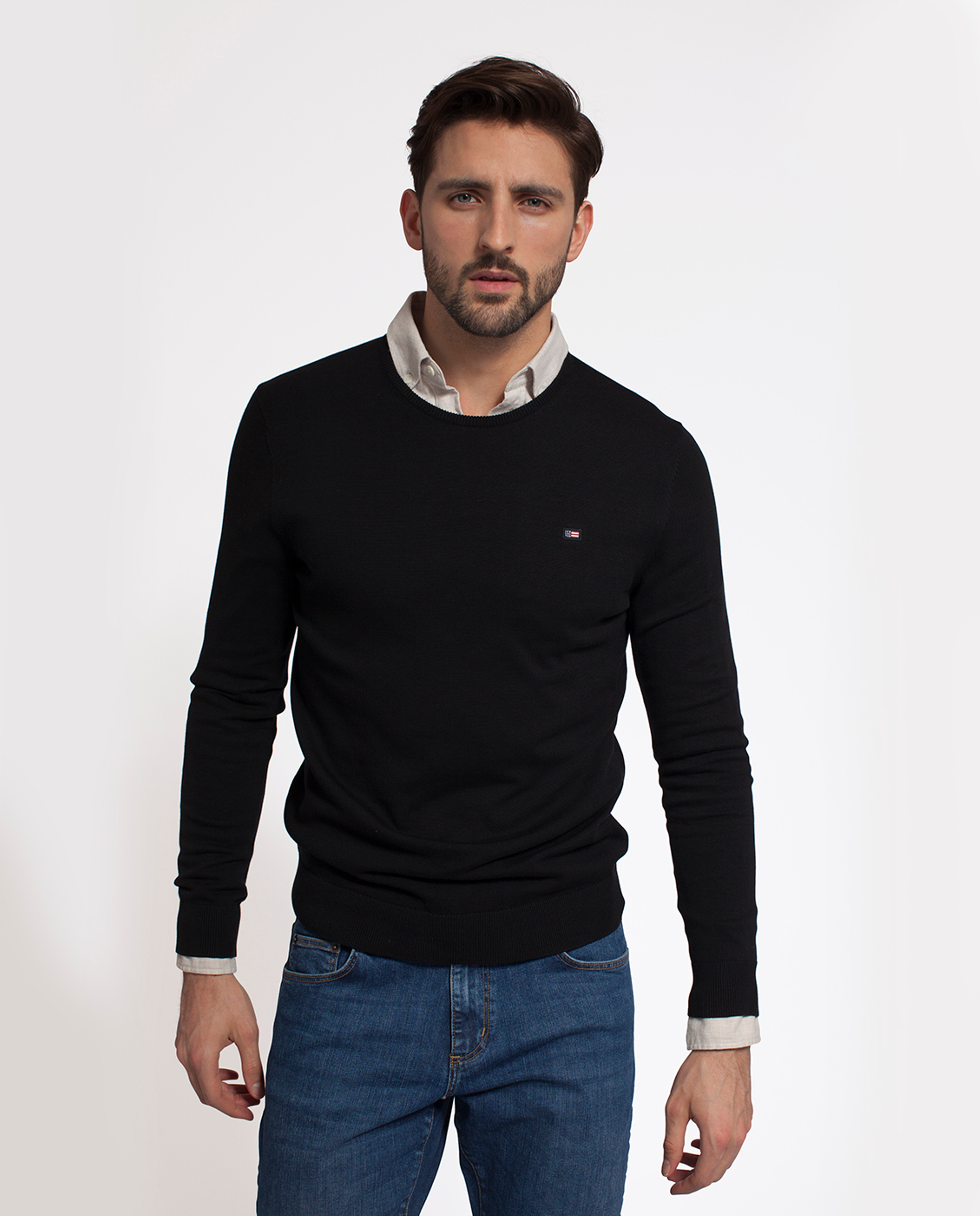 Bradley Cotton Crewneck Sweater, Caviar Black