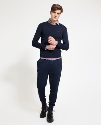Bradley Cotton Crewneck Sweater, Deepest Blue