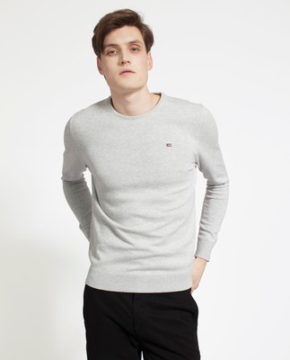 Bradley Cotton Crewneck Sweater, Light Gray