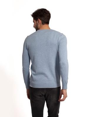 Bradley Cotton Crewneck Sweater, Light Blue