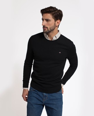 Bradley Cotton Crewneck Sweater, Caviar Black