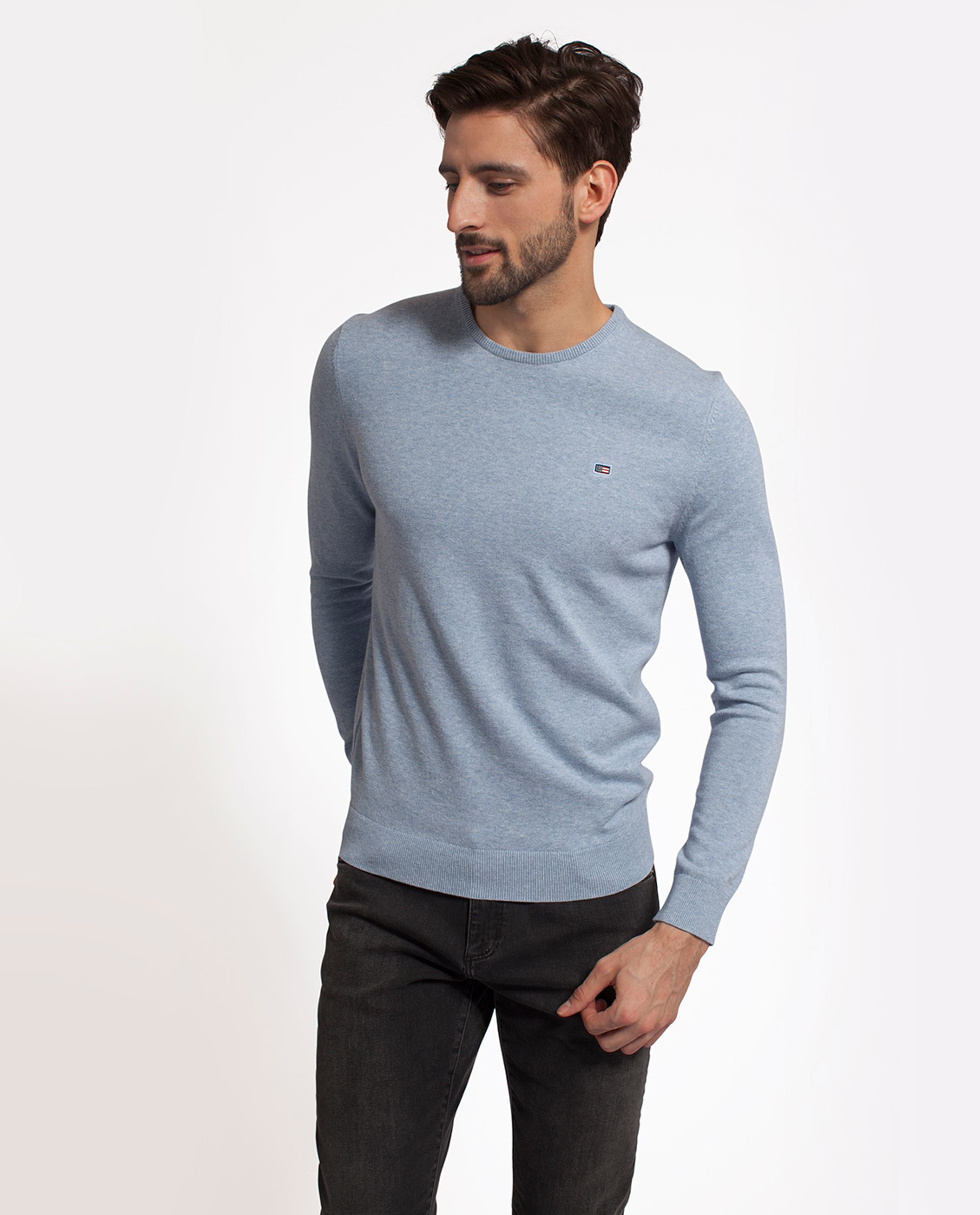 Bradley Cotton Crewneck Sweater Light Blue