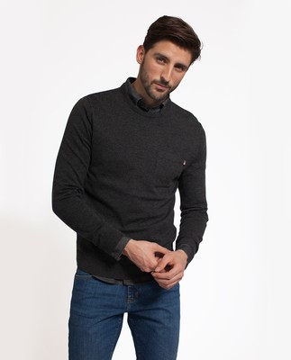Jeff Crewneck Sweater, Dark Gray