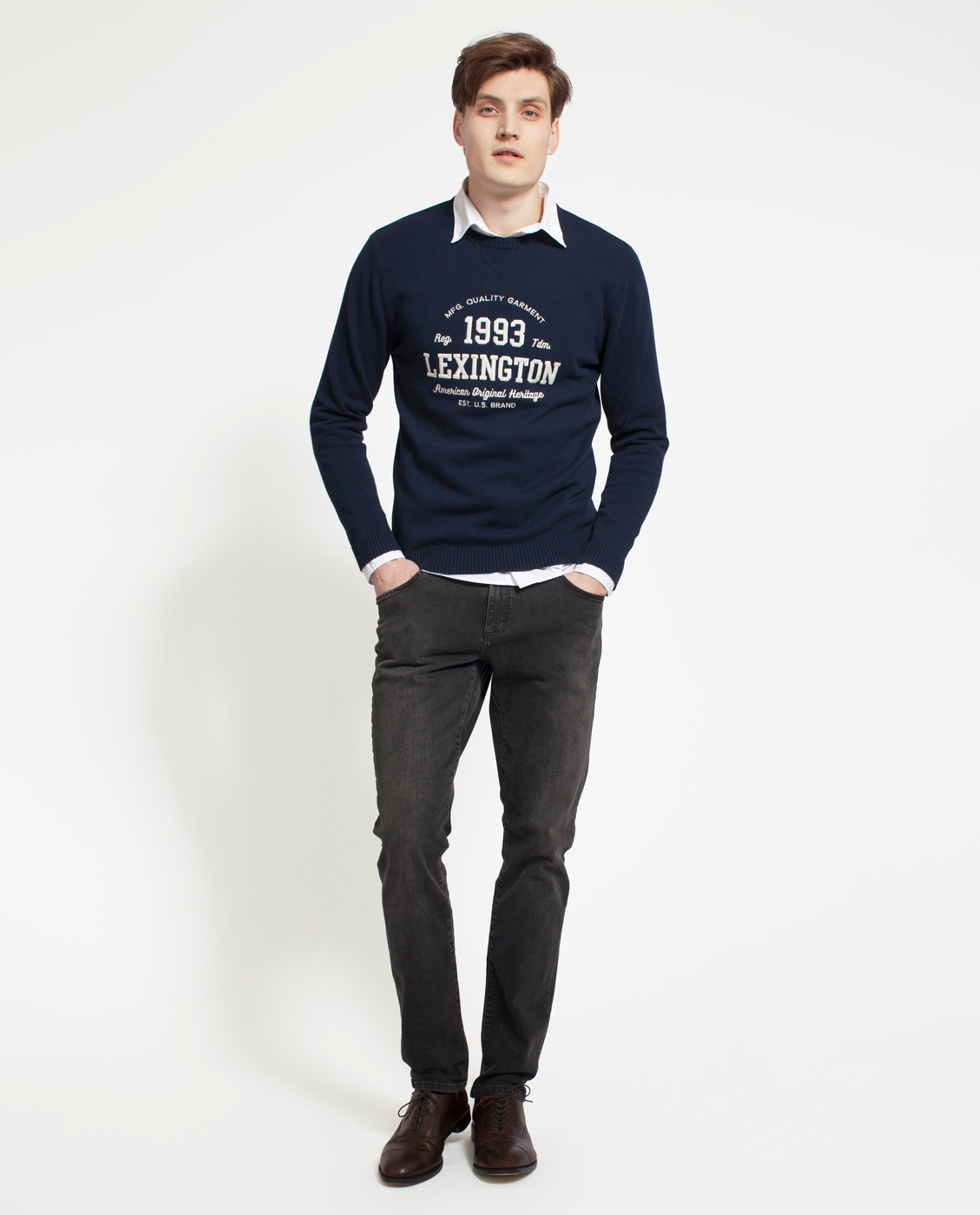 Nelson Knitted Sweatshirt, Deepest Blue