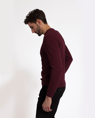 Nelson Knitted Sweatshirt, Burgundy Wine