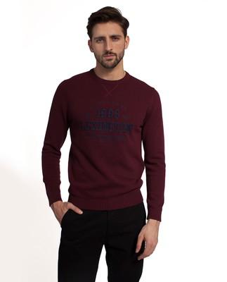 Nelson Knitted Sweatshirt, Burgundy Wine
