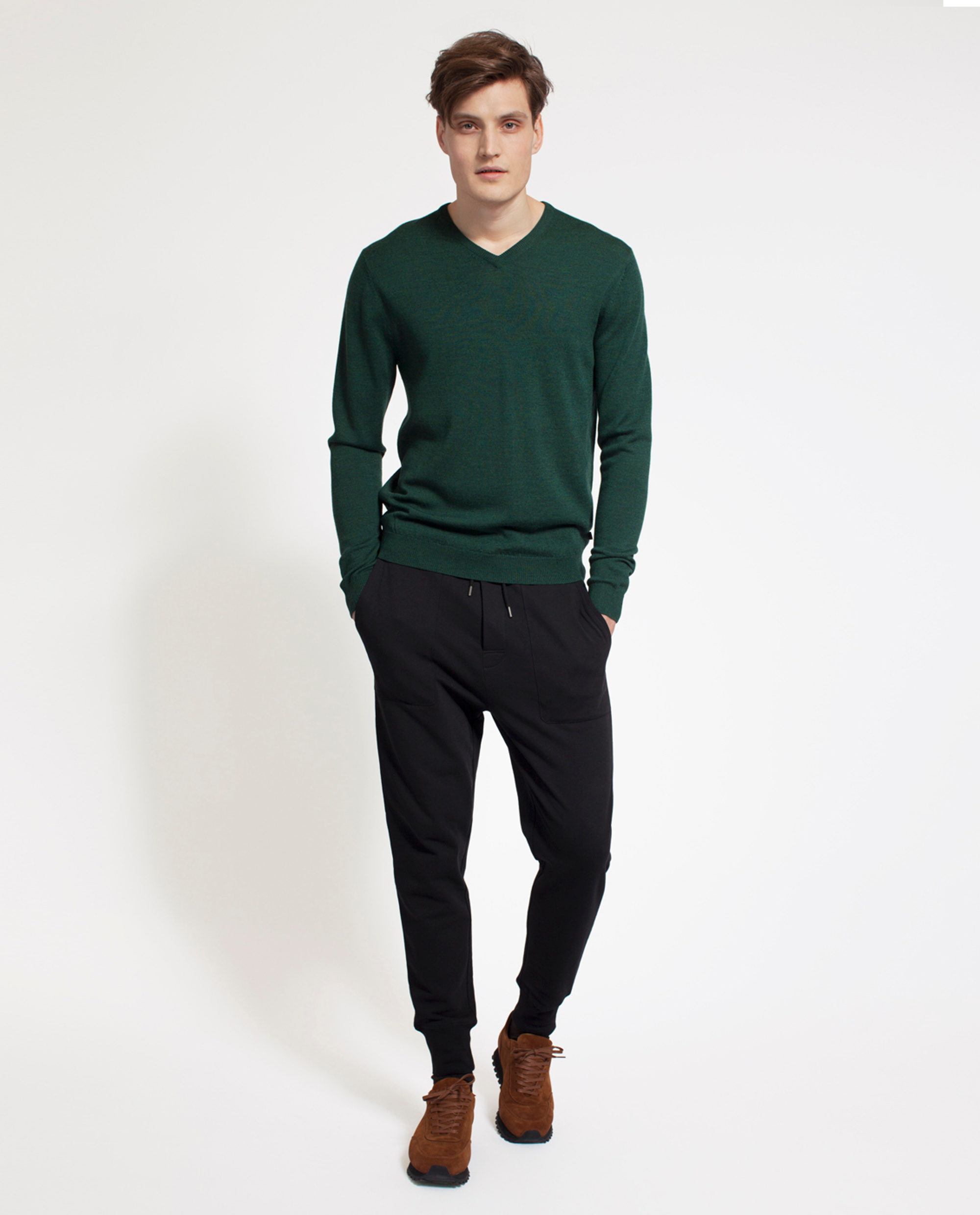 Ian Merino V-Neck Sweater, Mountain Green