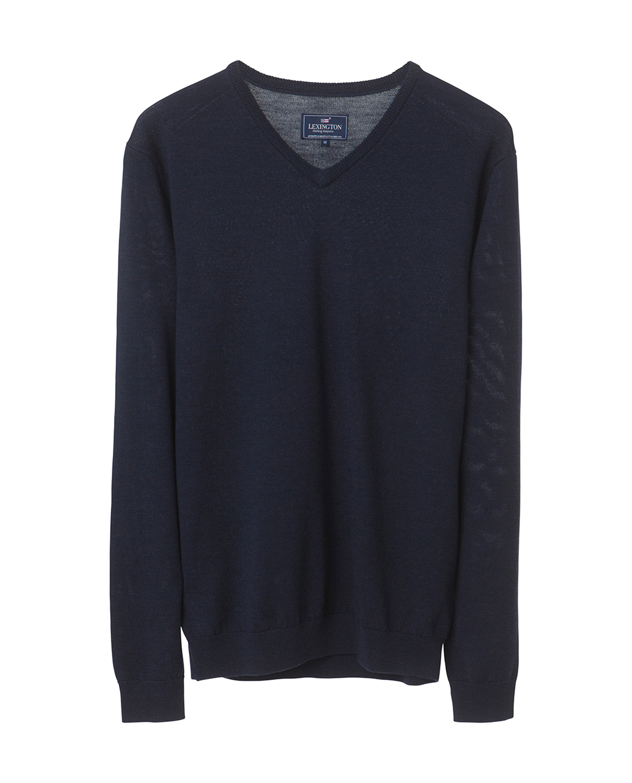 Ian Merino V-Neck Sweater, Deep Marine Blue