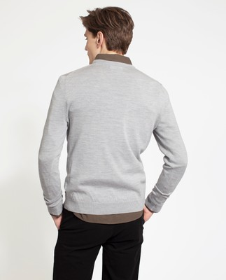 Ian Merino V-Neck Sweater, Light Gray