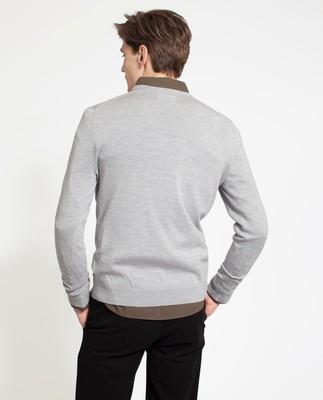 Ian Merino V-Neck Sweater, Light Gray