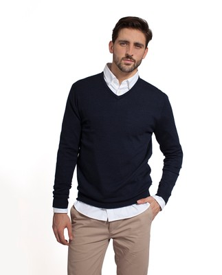 Ian Merino V-Neck Sweater, Deep Marine Blue