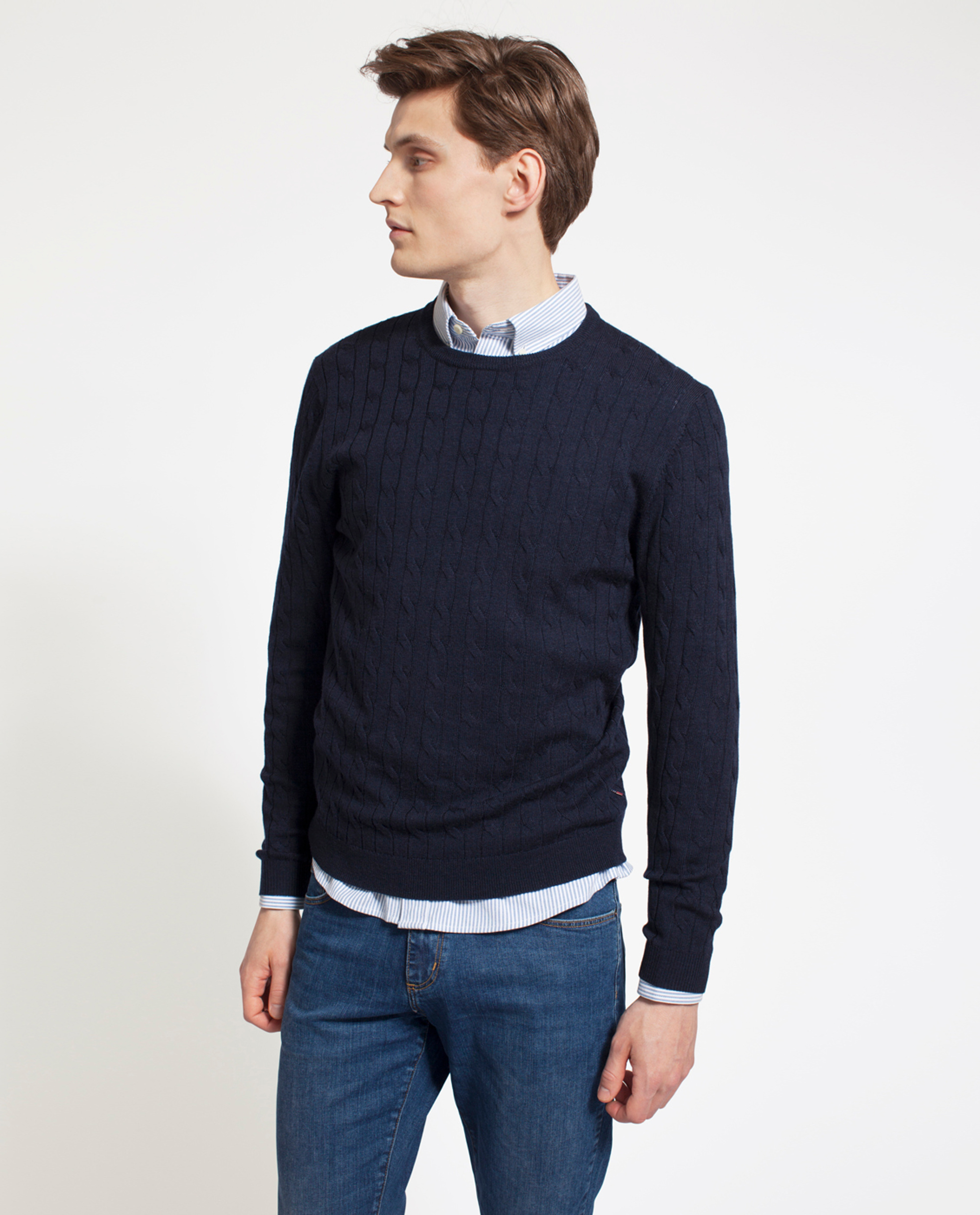 Dominic Merino Cable Sweater, Deep Marine Blue