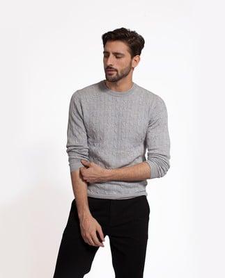 Dominic Merino Cable Sweater, Light Gray