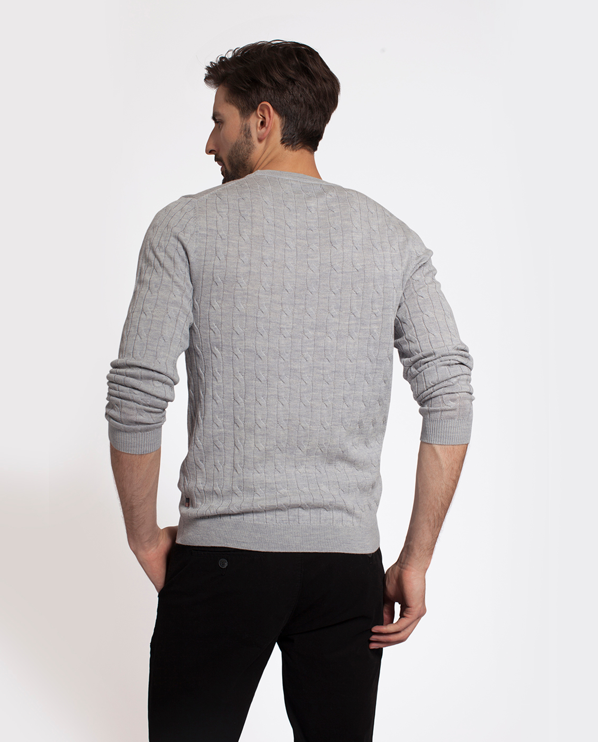 Dominic Merino Cable Sweater, Light Gray