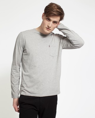 Trevor Long Sleeve Tee, Heather Gray
