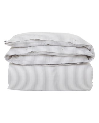 White/Light Gray Tencel Striped Duvet