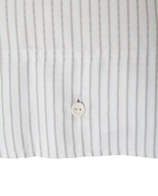 White/Light Gray Tencel Striped Duvet