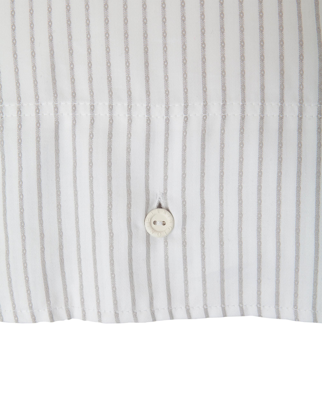 White/Light Gray Tencel Striped Flat Sheet