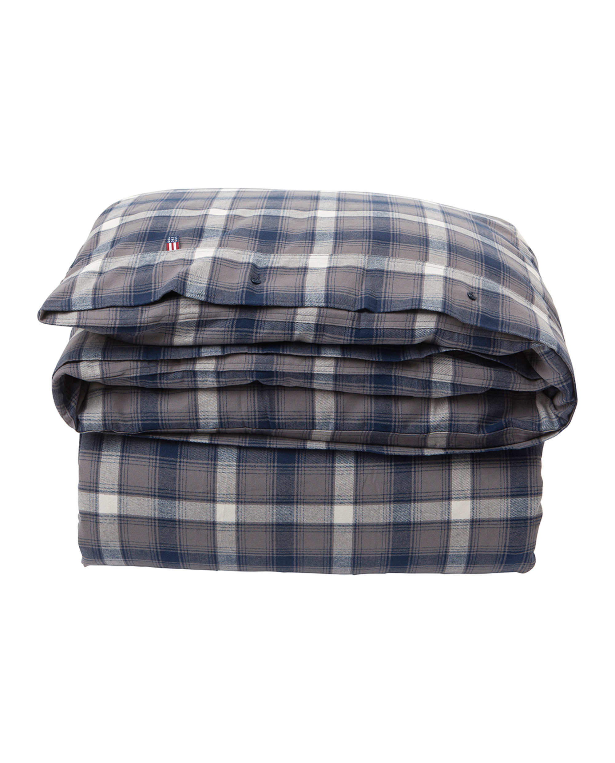 Checked Flannel Duvet, Blue Multi