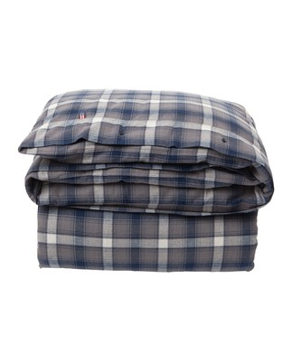 Checked Flannel Flat Sheet, Blue Multi