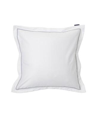 White/Gray Sateen Star Framed Pillowcase