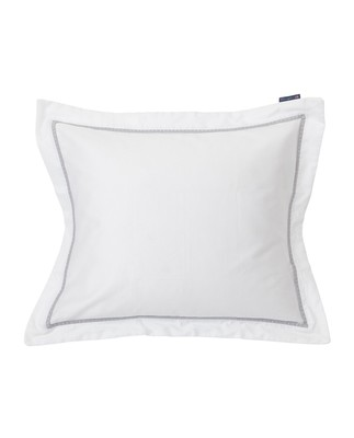 White/Gray Sateen Star Framed Pillowcase