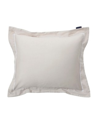 Beige/White Sateen Star Framed Pillowcase