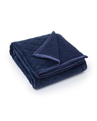 Quilt Velvet Bedspread, Blue