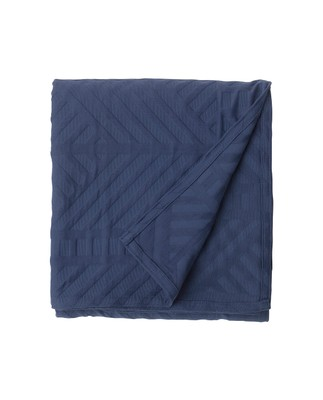 Solid Jacquard Bedspread, Blue