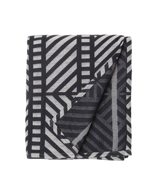 Contrast Jacquard Bedspread, White/Black