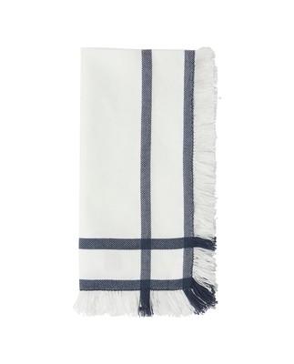 Fringe Napkin, White/Blue