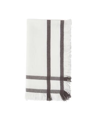 Fringe Napkin, White/Gray