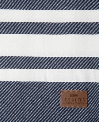Twill Throw, Blue/White